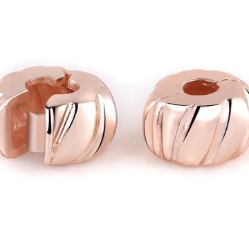 Trava Clip Banho Ouro Rose para pulseira Pandora