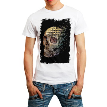Camiseta Caveira Camisa Skull Roupa Masculina Homem Branca