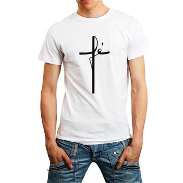 Camiseta Fé Gospel Católica Camisa Religião Roupa Homem