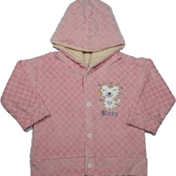 Casaco Infantil Menina Plush com Capuz Rosa