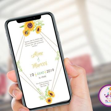 Convite Digital Casamento ou Noivado - Girassol