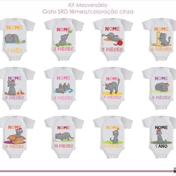 Kit Mesversário para bebê - tema Gato Cinza - Fêmea