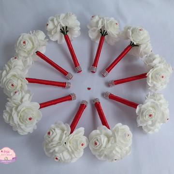 Mini Buquê para madrinhas - Branco e vermelho c/ Strass