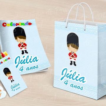 Kit colorir giz sacola Soldadinho de Chumbo