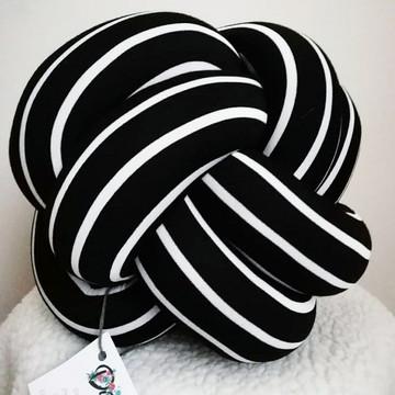 Almofada Nó Escandinavo Listrado - Preto e branco