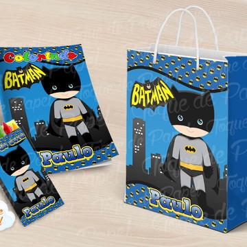 Kit colorir giz sacola batman cute batgirl baby
