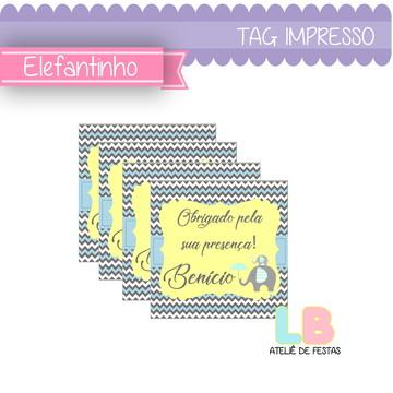 tag impressa   elefantinho azul   personalizada