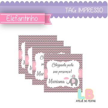 tag impressa   elefantinho rosa   personalizada