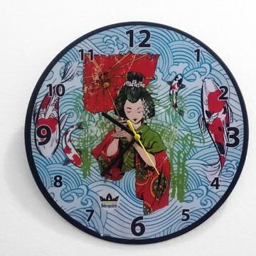 Relógio de Parede em Disco de Vinil - Gueixa - Arte japonesa