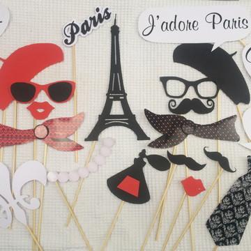 Placas Divertidas Paris Vermelho
