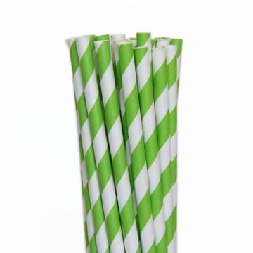 Canudos de papel -20 unidades* Verde limão *Listrado