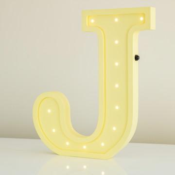 Letra 3d J luminosa de MDF