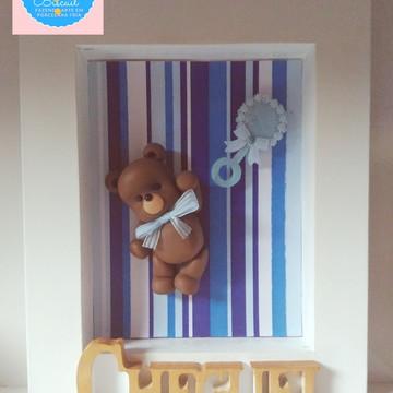 Quadro Maternidade MDF Ursinho Biscuit Personalizado