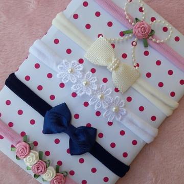 Kit 5 Tiara para Bebe Recem Nascido na faixa de meia de seda