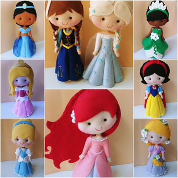 kit com 9 Princesas Disney