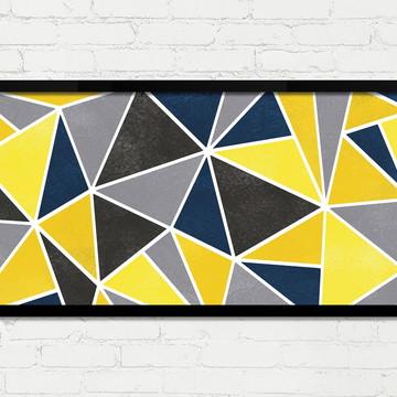 Quadro Horizontal Abstrato Geométrico Concreto Amarelo A