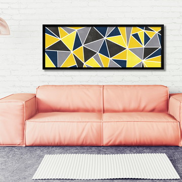 Quadro Horizontal Abstrato Geométrico Concreto Amarelo B