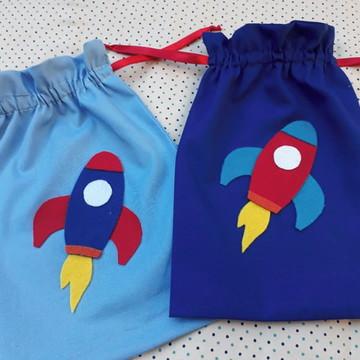 Lembrancinha saquinho astronauta foguete