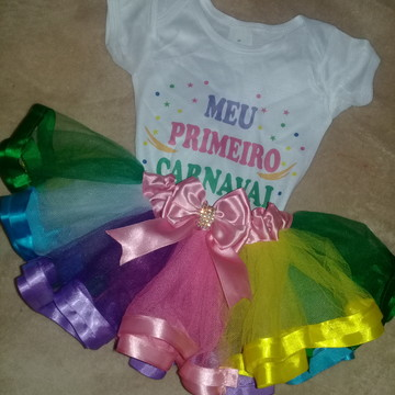 Tutu Colorido e body Meu 1° Carnaval