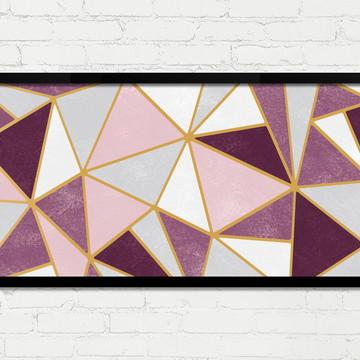 Quadro Horizontal Abstrato Geométrico Rosa Cinza Dourado A
