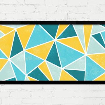 Quadro Horizontal Abstrato Geométrico Branco Azul Amarelo A