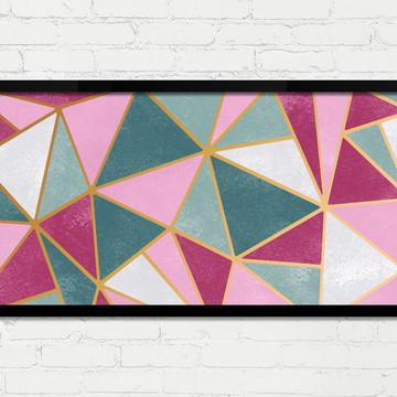 Quadro Horizontal Abstrato Geométrico Rosa Verde Dourado A