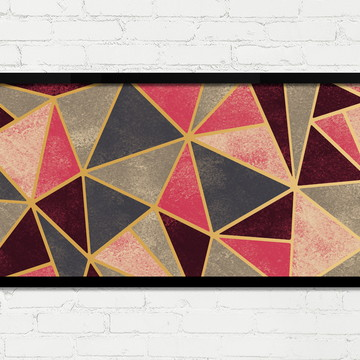 Quadro Horizontal Abstrato Geométrico Vermelho Dourado A