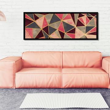Quadro Horizontal Abstrato Geométrico Vermelho Dourado B