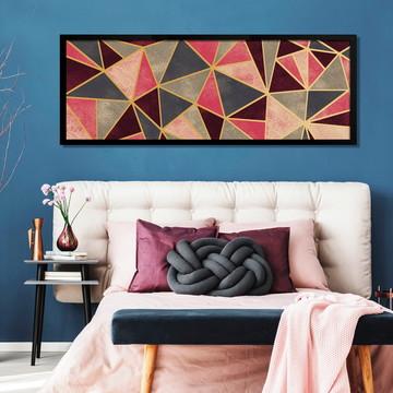 Quadro Horizontal Abstrato Geométrico Vermelho Dourado C