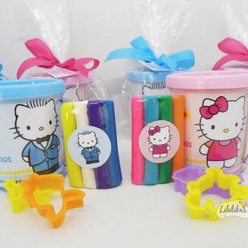 Lembrancinha Hello Kitty - Caneca com kit massinha
