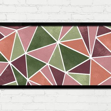 Quadro Horizontal Abstrato Geométrico Verde Rosa Branco A