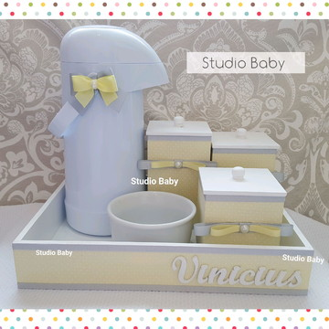 Kit Higiene Amarelo e Cinza