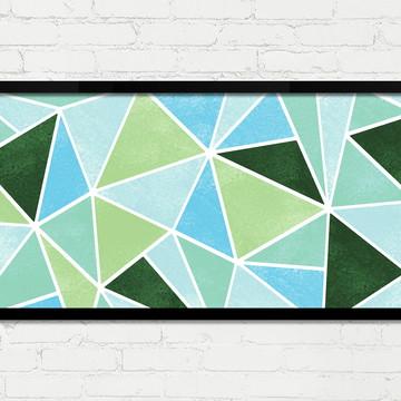 Quadro Horizontal Abstrato Geométrico Verde Azul Branco A