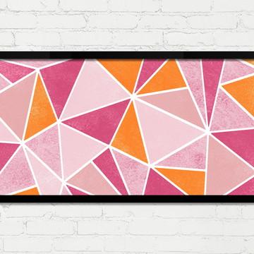 Quadro Horizontal Abstrato Geométrico Rosa Laranja Branco A