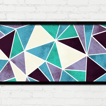 Quadro Horizontal Abstrato Geométrico Lilás Turquesa A
