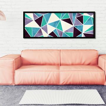 Quadro Horizontal Abstrato Geométrico Lilás Turquesa B