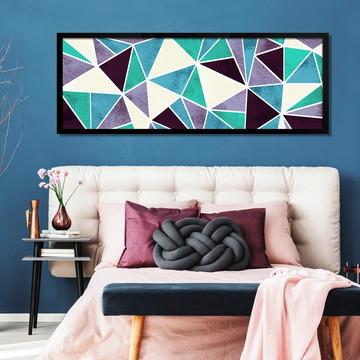 Quadro Horizontal Abstrato Geométrico Lilás Turquesa C