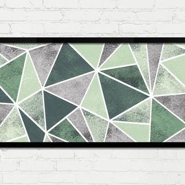 Quadro Horizontal Abstrato Geométrico Cinza Verde Branco A