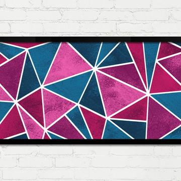 Quadro Horizontal Abstrato Geométrico Rosa Azul Branco A