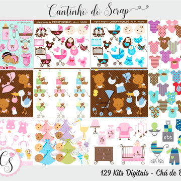Kit Digital Chá de Bebê - Clipart Chá de Bebê