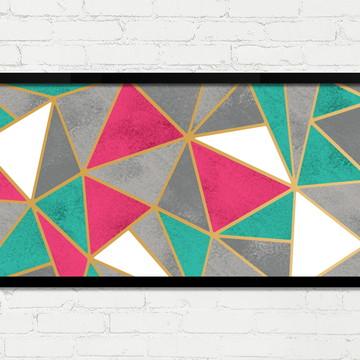 Quadro Horizontal Abstrato Geométrico Rosa Concreto Branco A