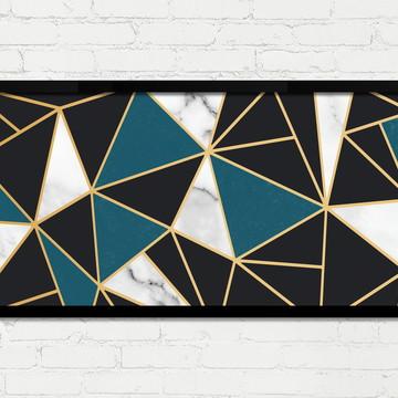 Quadro Horizontal Abstrato Geométrico Azul Dourado Preto A