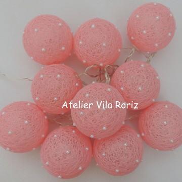 Cordão de Luz Mini Pérolas Rosa!!