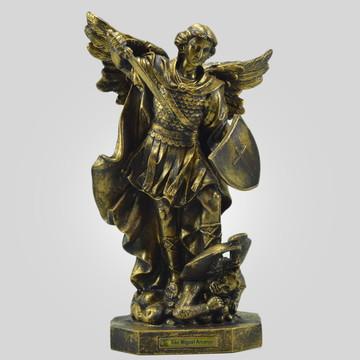 São Miguel Arcanjo na cor Bronze 34 Cm - Inquebrável