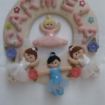 Enfeite de Porta Maternidade Bailarinas em Feltro