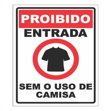 Adesivo Proibido entrada sem camisa 16,5x19,5cm a136