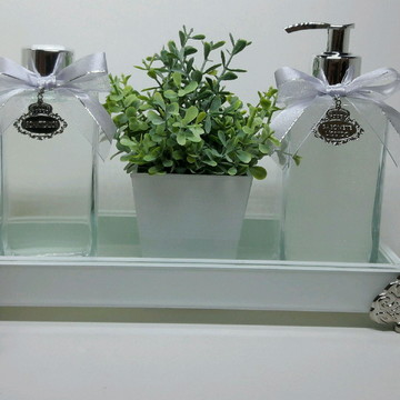 Kit Lavabo Luxo Difusor Luxo Bandeja Branca Casamento -5 pçs