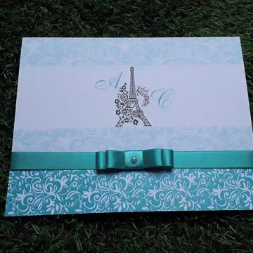 Convite 15 Anos Azul Tiffany Personalizado Paris Torre