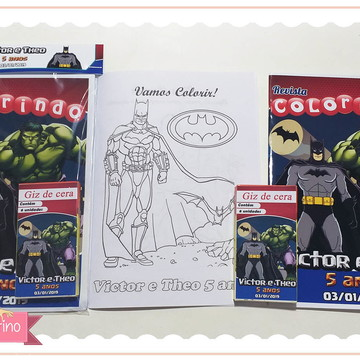 Kit colorir + giz de cera - Herois