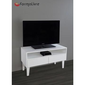 Rack para TV Bancada Com Nicho e Gaveta Laqueado Branco